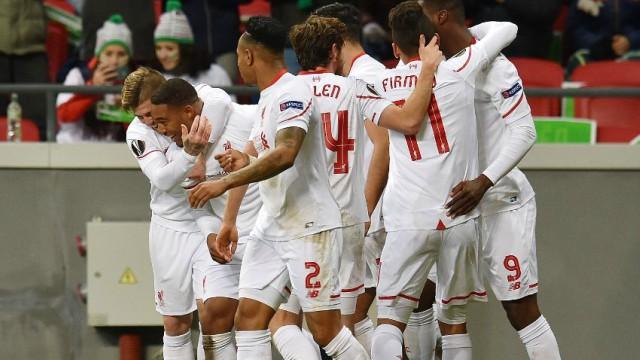 Jordon Ibe celebrates his goal vs. Rubin Kazan with Liverpool teammates