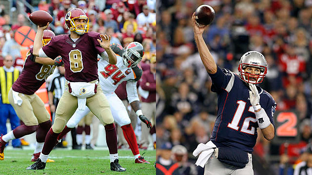 Washington Redskins quarterback Kirk Cousins and New England Patriots quarterback Tom Brady