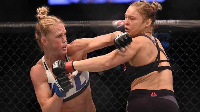 Ronda Rousey competes against Holly Holm