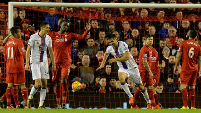 Scott Dann scores in LFC's loss to Crystal Palace.