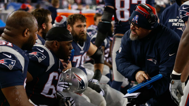 New England Patriots offensive line coach Dave DeGuglielmo