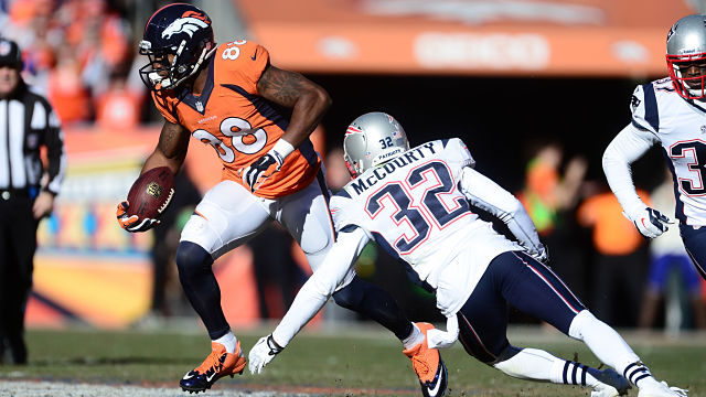 Denver Broncos receiver Demaryius Thomas and New England Patriots safety Devin McCourty
