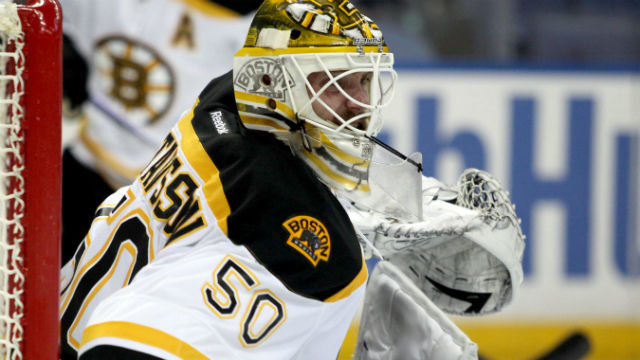 Boston Bruins goalie Jonas Gustavsson