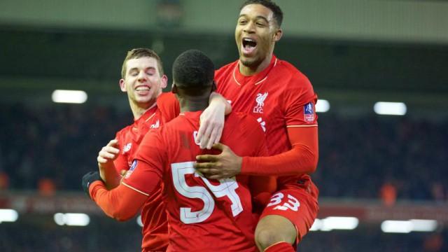 Liverpool's Jon Flanagan, Sheyi Ojo and Jordan Ibe