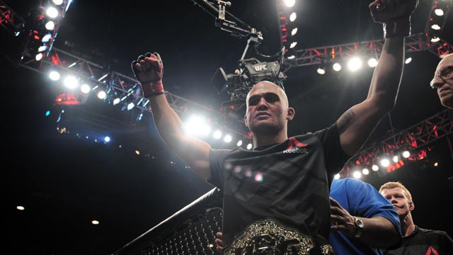 Robbie Lawler celebrates after defeating Rory MacDonald