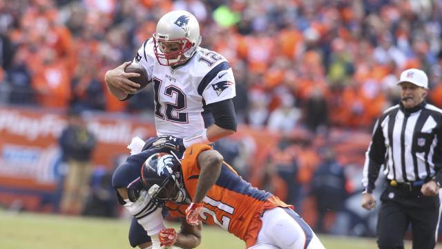 New England Patriots quarterback Tom Brady, Denver Broncos cornerback Aqib Talib
