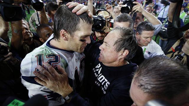 New England Patriots quarterback Tom Brady and head coach Bill Belichick