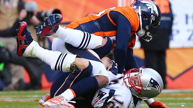 Denver Broncos linebacker Von Miller and New England Patriots quarterback Tom Brady