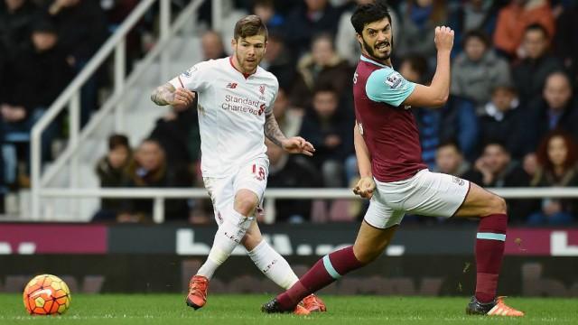 Alberto Moreno and James Tomkins in West Ham vs Liverpool