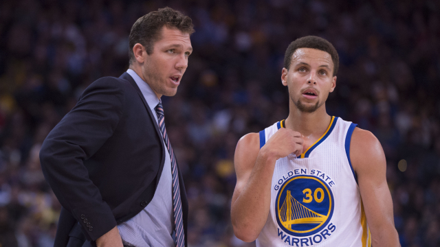 Golden State Warriors coach Luke Walton and superstar Stephen Curry
