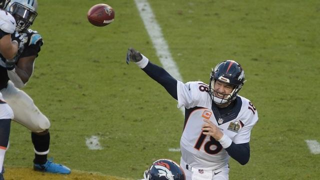 Peyton Manning, Broncos QB, at Super Bowl 50