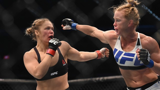 Ronda Rousey and Holly Holm at UFC 193