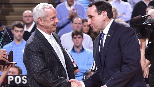 North Carolina Tar Heels head coach Roy Williams with Duke Blue Devils head coach Mike Krzyzewski