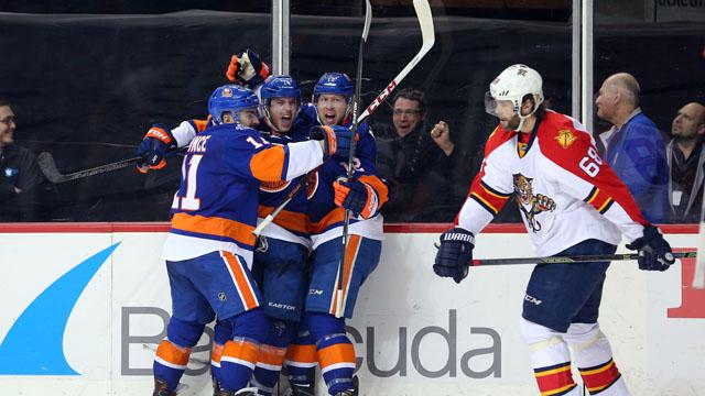 Islanders celebrate vs. Panthers