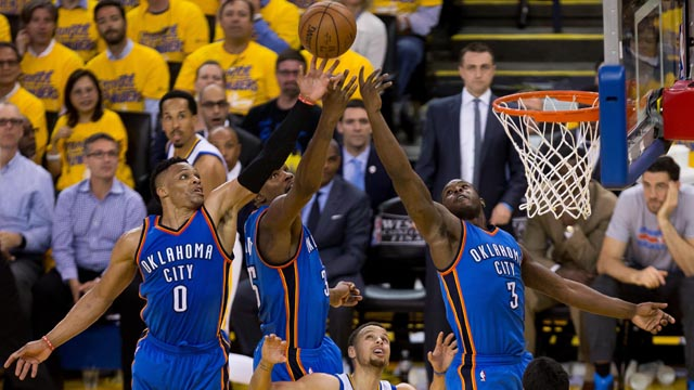Oklahoma City Thunder guard Russell Westbrook (0), forward Kevin Durant (35) and guard Dion Waiters