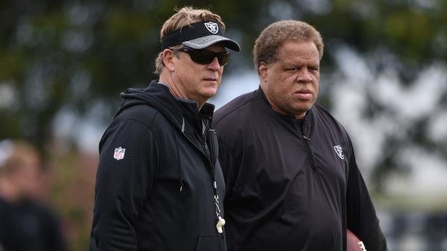 Oakland Raiders head coach Jack Del Rio and general manager Reggie McKenzie