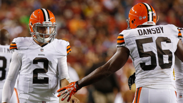 Cleveland Browns quarterback Johnny Manziel and linebacker Karlos Dansby
