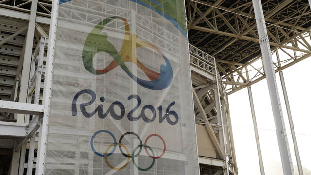 A banner on the Aquatics Stadium in the Barra Olympic Park during a venue tour in the Rio 2016