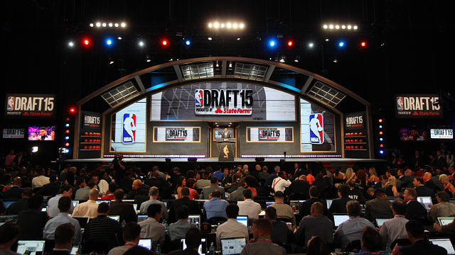 NBA commissioner Adam Silver addresses the crowd before the first round of the 2015 NBA Draft