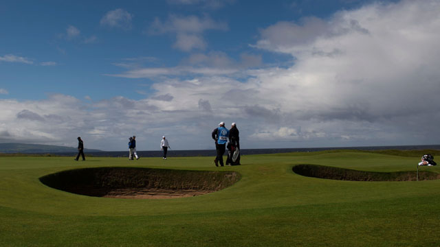 Rickie Fowler (USA), Jimmy Walker (USA) during a practice round for the 145th Open Championship