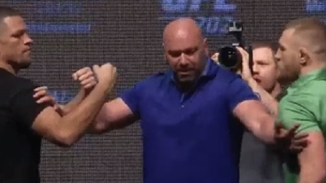 Conor McGregor, Nate Diaz At UFC 202 Pre-Fight Press Conference