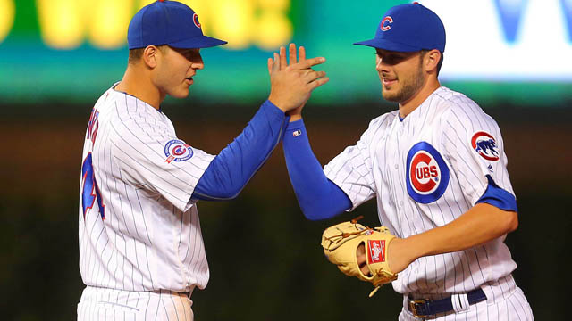 Chicago Cubs first baseman Anthony Rizzo (44) and left fielder Kris Bryant