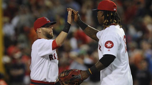 Boston Red Sox first baseman Hanley Ramirez (13) high fives second baseman Dustin Pedroia