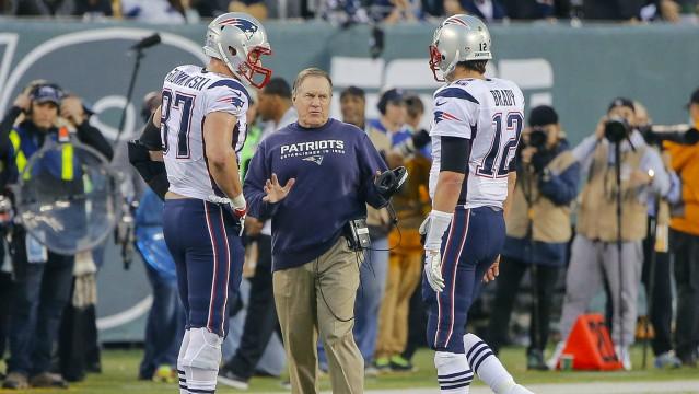 Rob Gronkowski, Bill Belichick and Tom Brady