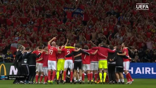 Wales celebrates Euro 2016 win over Belgium