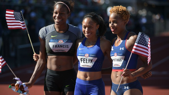 USA track and field's Phyllis Francis, Allyson Felix and Natasha Hastings