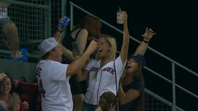 Red Sox fan celebrates foul ball with beer