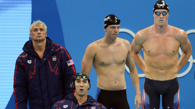 Team USA members Ryan Lochte, Michael Phelps, Townley Haas, and Conor Dwyer