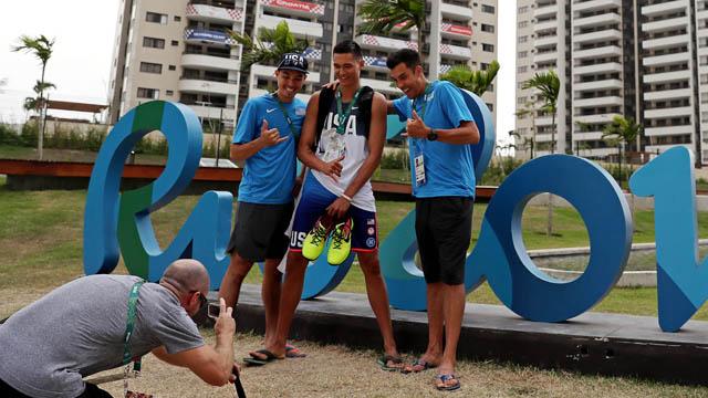 USA men's volleyball player Erik Shoji, Micah Christenson and Kawika Shoji