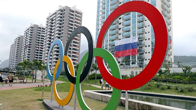 A view of the Olympic rings at Athlete Village prior to the 2016 Rio Olympics