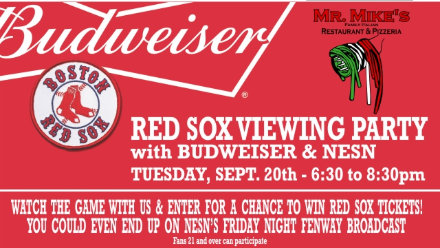 Mr. Mike's Budweiser Red Sox viewing party promo
