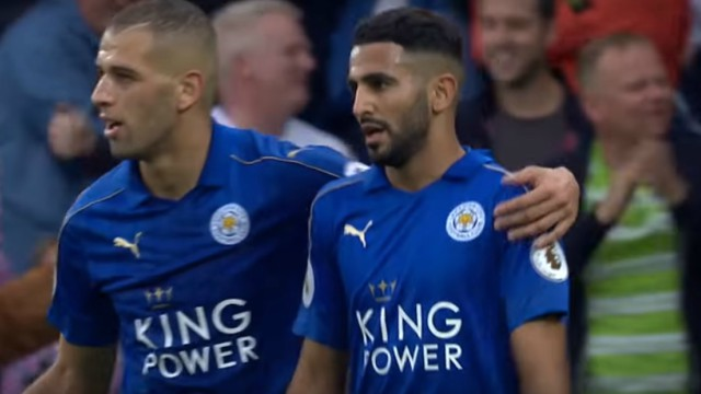 Leicester City's Islam Slimani and Riyad Mahrez