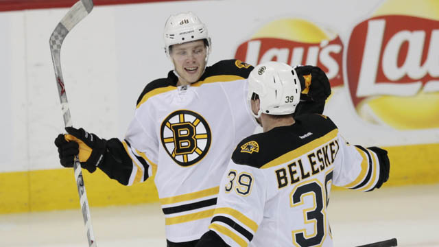 Boston Bruins left wing David Pastrnak (88) celebrates his goal with teammate Boston Bruins left wing Matt Beleskey