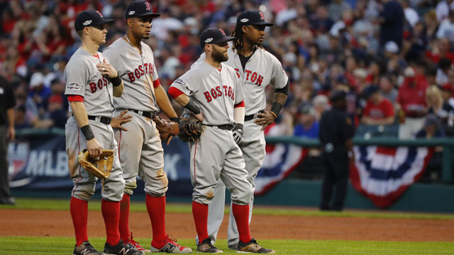 Red Sox infield looks on