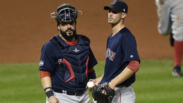 Boston Red Sox catcher Sandy Leon and pitcher Rick Porcello