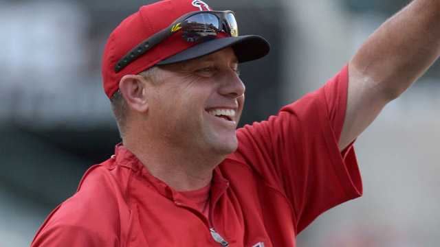 Los Angeles Angels third base coach Gary DiSarcina
