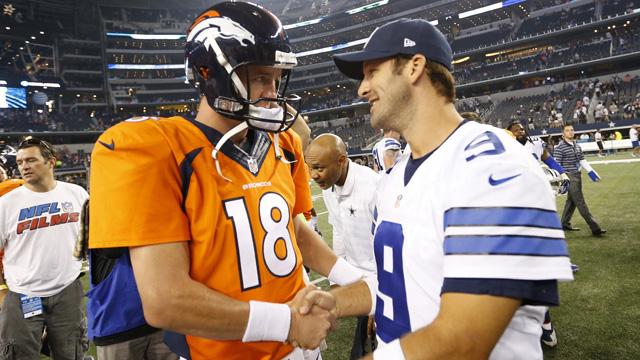 Cowboys quarterback Tony Romo and Peyton Manning