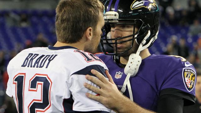 New England Patriots quarterback Tom Brady, Baltimore Ravens quarterback Joe Flacco