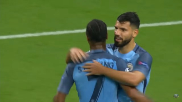 Manchester City's Sergio Aguero and Raheem Sterling