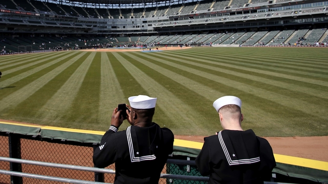 Members of the Navy at an MLB game