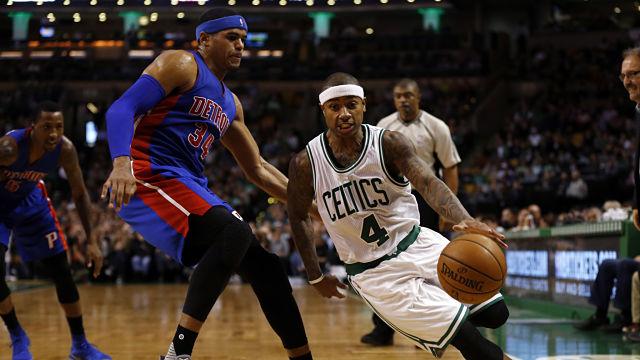 Boston Celtics point Guard Isaiah Thomas and Detroit Pistons forward Tobias Harris