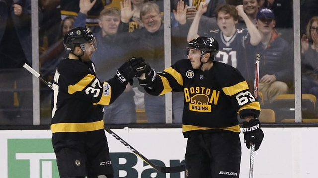 Patrice Bergeron and Brad Marchand of the Boston Bruins