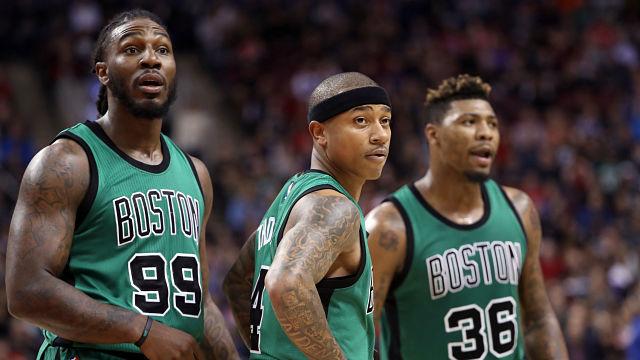 Boston Celtics guard Isaiah Thomas, forward Jae Crowder and guard Marcus Smart