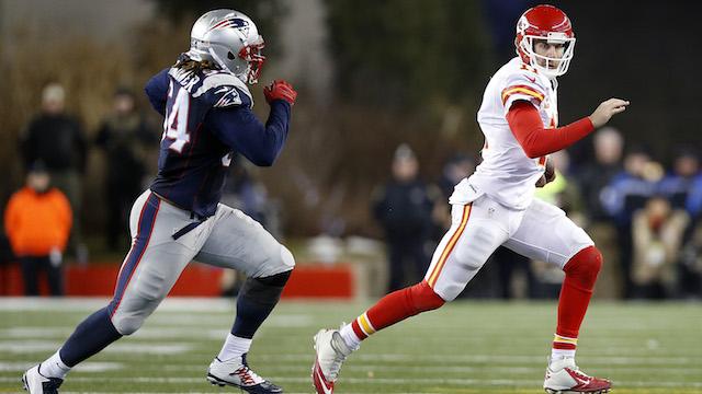 Patriots linebacker Dont'a Hightower and Chiefs quarterback Alex Smith
