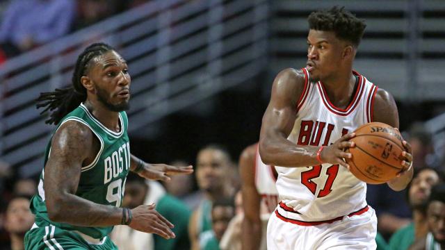 Boston Celtics forward Jae Crowder and Chicago Bulls forward Jimmy Butler