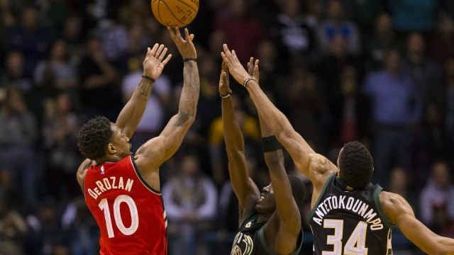 Toronto Raptors guard DeMar DeRozan vs. Milwaukee Bucks